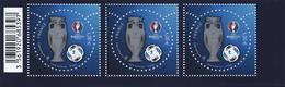 FRANCE - CHAMPIONNAT D'EUROPE 2016 - BAS DE FEUILLE 3 EXEMPLAIRES DU BLOC 137 - GOMME D'ORIGINE AVEC CODE BARRE - France