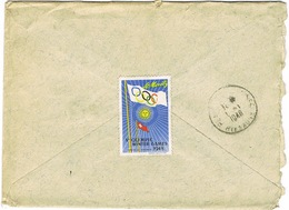 VIGNETTE JO ST MORITZ AU VERSO D'UNE ENVELOPPE ADRESSEE DU CONSULAT DE SUISSE A BESANCON - Invierno 1948: St-Moritz