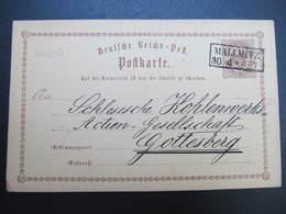 GANZSACHE Mallmitz Malomice Sagan - Gottesberg 1873 Korrespondenzkarte  /// D*38782 - Germania