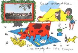 On Est Vachement Bien Au Camping De SALLES D'ANGLES - Dessin De Vache Et Tente - Petite Photo Vue Générale Et Vignes - Altri Comuni
