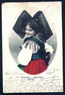 CPA ALSACE-LORRAINE OCCUPÉE- ALSACIENNE COLORISÉE- TIMBRE N°69- CAD AMBULANT OVALE STRASSBURG ELS.- 1904- 2 SCANS + INFO - Unclassified