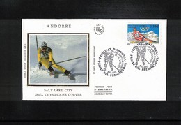 Andorra 2002 Olympic Games Salt Lake City FDC - Winter 2002: Salt Lake City