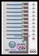 Uzbekistan Lot Bundle 10 Banknotes 1000 Sum 2001 Pick 82 SC UNC - Oezbekistan