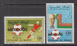 1986 Morocco Maroc World Cup Football Mexico Complete Set Of 2 MNH - Morocco (1956-...)
