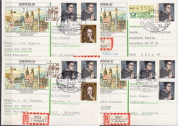 Germany 4 Registered Postal Stationery Cards, Naposta '81 With Differenet Cancels - Philatelic Exhibitions