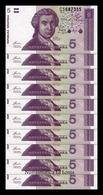 Croacia Lot Bundle 10 Banknotes 5 Dinara 1991 Pick 17 SC UNC - Croacia