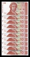Croacia Lot Bundle 10 Banknotes 10 Dinara 1991 Pick 18 SC UNC - Croacia