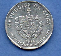 Cuba  - 25 Cents 1994  - Km # 577.1 - état  TTB+ - Cuba