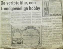 Oud Krantenartikel Over Het Verzamelen Van Oude Aandelen ( Aandeel Obligation Action ) Scriptofilie - Actions & Titres