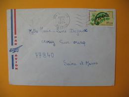 Lettre De La Réunion CFA  1974  N° 399 Caméléon Protection De La Nature De Saint Louis Pour La France - Reunion Island (1852-1975)
