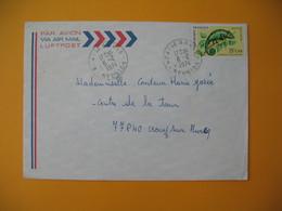 Lettre De La Réunion CFA  1974  N° 399 Caméléon Protection De La Nature  -  Le Brule Pour La France - Reunion Island (1852-1975)
