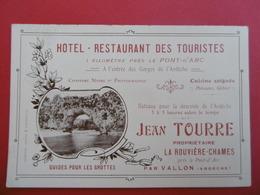 VALLON - PONT - D'ARC  ( ARDECHE ) Carte De Visite Pour L'HOTEL Des TOURISTE  - TOURRE  Jean  - La RIVIERE - CHAMES - Visiting Cards