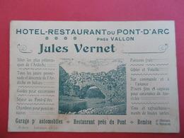 VALLON - PONT - D'ARC  ( ARDECHE ) Carte De Visite Pour L'HOTEL Du PONT - D'ARC   - VERNET  Jules - Visiting Cards