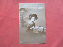 RPPC  Young Girl Flower Basket  Mmany Happy Returns  My Dear    Ref 3421 - Holidays & Celebrations
