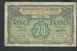 Banque De L'Algérie  20 Francs Du 4/6/1948 - Algerije