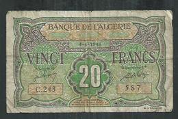 Banque De L'Algérie  20 Francs Du 4/6/1948 - Algeria