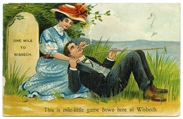 COMIC : ONE MILE TO WISBECH / POSTMARK - WISBECH / ADDRESS - STAMFORD (SMOKING) - Comics