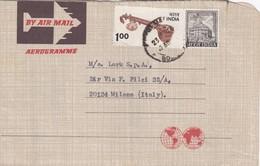 AEROGRAMME - INDIA BOMBAY - B.M. CORPORATION -  MANUFACRERS - VIAGGIATO PER  MILANO  LARK S.P.A / ITALIA - India