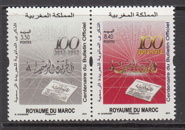 2012 Morocco Maroc  Official Bulletin  Complete Pair MNH - Morocco (1956-...)