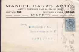 Spain MANUEL BARAS ARTÉS Agente Comprador Para Isla De Cuba MADRID 192? Cover Brief HAMBURG Germany Alphonse XIII. - 1889-1931 Königreich: Alphonse XIII.