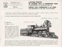 Catalogue POCHER Supplemento Al Catalogo 1964-65 Trains HO - Cannon - FIAT 130 1:32 + Price List LIT 6/2/1966 - Boeken En Tijdschriften