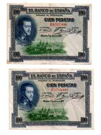 Espagne - 2 Billets De 100 Pesetas De 1925-voir état. - Kilowaar - Bankbiljetten