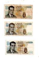 Belgique - 3 Billets De 20 Francs De 1964-voir état. - Kilowaar - Bankbiljetten