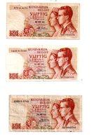 Belgique - 3 Billets De 50 Francs De 1966-voir état. - Kilowaar - Bankbiljetten