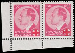 Principe Poul - Croce Rossa / 1.50+0.50 Din Viola Rosa / Rosso (coppia D'angolo) - 1936 - Nuovi