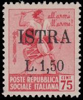 ISTRIA (POLA) - Occupazione Jugoslava Lire 1,50 Su 75 C. Rosa (n° 499 Filigr. - Monumenti Distrutti) - 1945 - Nuovi