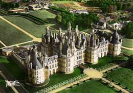 CPSM Grand Format CHAMBORD Vue Aérienne Le Chateau (Facade Nord) Colorisée Pilote Et Operateur R  HENRARD 2 RV Edit Gre - Chambord