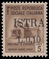 ISTRIA (POLA) - Occupazione Jugoslava  10 C. Su 5 C. Bruno (n° 502) - 1945 - Nuovi