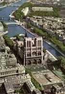 CPSM Grand Format PARIS  Vue Aérienne La Facade De Notre Dame Et La Seine Colo Pilote Operateur R  HENRARD RV Edit Greff - Notre Dame De Paris