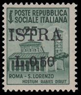 ISTRIA (POLA) - Occupazione Jugoslava  50 C. Su  25 C. Verde Smeraldo (n° 505) - 1945 - 1945-1992 Repubblica Socialista Federale Di Jugoslavia