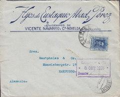 Spain HYOS De EUSTAQUIO ABAD, PÉREZ Succ. Vicente Navarro Y Ca., NOVELDA 1928 Cover Brief HAMBURG Germany Alphonse XIII. - 1889-1931 Königreich: Alphonse XIII.