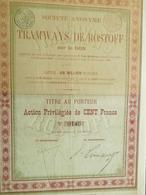 Société Anonyme Des Tramways De Rostoff TRAM ( Aandeel Obligation Action ) - Chemin De Fer & Tramway