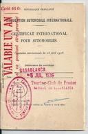 Permis International De Conduire Touring Club De France Bureau De Casablanca Juillet 1936 Mugnier Emile El Kelaa (Maroc) - Vieux Papiers
