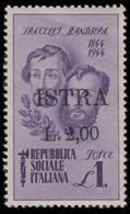 ISTRIA (POLA) - Occupazione Jugoslava  Lire 2 Su Lire 1 Violetto (Fratelli Bandiera) - 1945 - 1945-1992 Repubblica Socialista Federale Di Jugoslavia