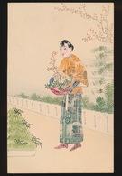 COLLAGE AVEC STAMPS  - COLLAGE MET POSTZEGELS - JAPANS MEISJE MET KORF BLOEMEN - Timbres (représentations)