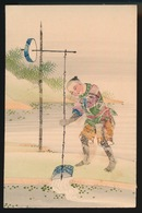 COLLAGE AVEC STAMPS  - COLLAGE MET POSTZEGELS - JAPANSE JONGEN  GAAT WATER OPHALEN - Timbres (représentations)