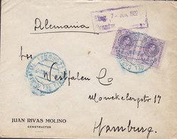 Spain JUAN RIVAS MOLINO Constructor Puebla Del Caramiñal CORUNA 1922 Cover Brief HAMBURG Germany Alphonse XIII. - 1889-1931 Königreich: Alphonse XIII.