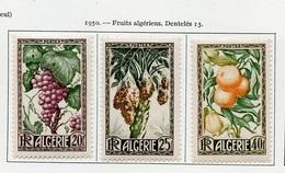 Algérie - Algerien - Algeria 1950 Y&T N°279 à 281 - Michel N°290 à 292 * - Fruits - Algeria (1924-1962)