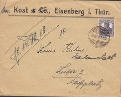 Germany Deutsches Reich KOST & Co., EISENBERG I. Thüringen 1918 Cover Brief LEIPZIG Flugplatz 15 Pf. Germania Stamp - Briefe U. Dokumente