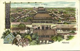 China, PEKING PEIPING, Panorama, Partial View, Fan 1899 Max Grill Litho Postcard - China