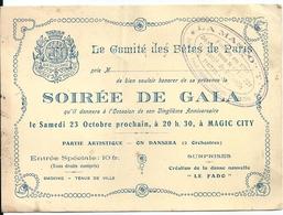 Carte D'Invitation Soirée De Gala Magic City Parc Attraction Paris Dancing 20 ème Anniversaire Comité Des Fêtes De Paris - Tickets - Entradas