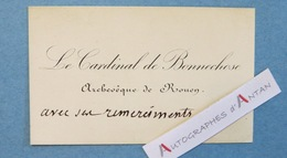 CDV Cardinal De Henri BONNECHOSE Archevêque De ROUEN - Carte De Visite Autographe - Bishop Archbishop - Autographes