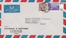 BUSTA VIAGGIATA AIR MAIL - INDIA - BOMBAY - NATHALAL E BROTHERS - VIAGGIATA PER - MILANO / ITALIA - India