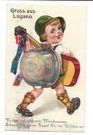 Saluti Da Lugano Cartolina Leporello 10 Imagini, 1933, Taxée 20 Cent, Aurait Dû être Affranchie Comme Une Lettre - TI Tessin