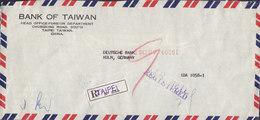 Taiwan BANK OF TAIWAN Air Mail Registered Einschreiben Label TAIPEI 1960 Cover Brief DEUTSCHE BANK, KÖLN Germany - 1945-... République De Chine