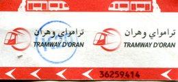 Tramway D'Oran (Algérie) - Ticket Avec Cachet K20 - Tramways